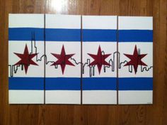 Chicago Skyline with Chicago Flag 4 panels by Designingwithkelly, $155.00