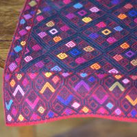 Mexican table linens, Black & Multicolor on Red, San Andres Runner