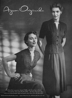 Classically stylish springtime fashions from the April 1949 edition of Vogue 1949 magazine. #vintage #1940s #fashion