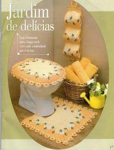 Jogo de banheiro com flores juego de, de banheiro, jogo de, de baño, crochet bathroom