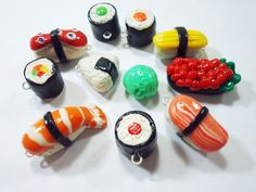 want want want! Japanese Sushi Polymer Clay Charms- Tamago, onigiri, tekka maki,Gunkan, Norimaki, etc by thecolorclay  #adorable #accessories #charms #sushi #cute