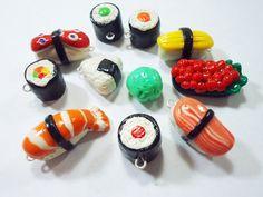 want want want! Japanese Sushi Polymer Clay Charms- Tamago, onigiri, tekka maki,Gunkan, Norimaki, etc by thecolorclay  #adorable #accessories #charms #sushi #cute
