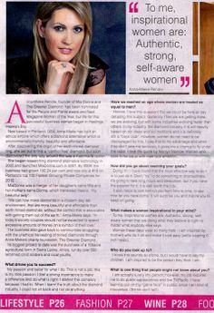 """#MiaDonna's founder and CEO #Anna-Mieke was featured in Hawkes Bay News…""""To me inspirational women are: Authentic, strong, self aware women."""""""