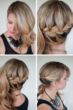 "15 Ways To Wear An Inverted Braid.  French Side Sweep Braid    Simple and understated. One side says ""I'm business"" and the other says ""I like to party"".  Found on Hair Romance"