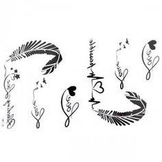 Las calcomanías de liberación nuevo tatuaje impermeable letras femeninas en blanco y negro de los tatuajes de plumas alfabeto ECG falsas