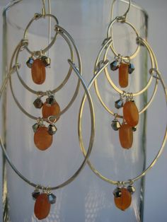 Carnelian and Silver Chandelier Earrings by 3tomatoes on Etsy, $120.00