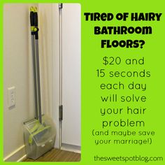 Is your hair everywhere?  Does your husband complain about it?  Try this outrageously simple solution!  http://thesweetspotblog.com/hair-everywhere/  #organization #cleaningtips #bathroom