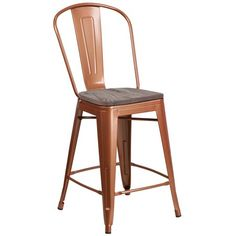 "Flash Furniture 24"" High Purple Metal Counter Height Stool with Back and Wood Seat - Walmart.com"