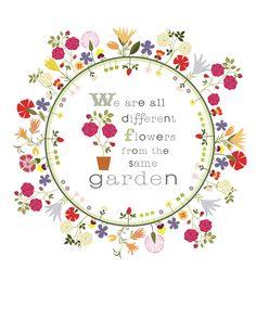 CbyC Original Illustration   Flower Circle Garden Quote  -  Limited Edition Print.