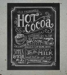 cocoa chalkboard, scoutmob shopp, chalkboards, idea, chalkboard designs, art prints, chalkboard art, chalkboard print, hot cocoa