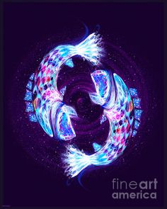 ZODIAC ART - Pisces - Zodiac Lightburst Print by ©ifourdezign - Available to buy #Prints #Posters #Redbubble #FineArtAmerica #Zodiac #Astrology #Starsigns #Pisces #TheFishes #Fractal #Abstract #DigitalArt  (Please retain ALL credit -TY)