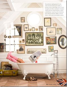 bathroom artwall & tub via Lonny.
