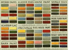 The Aladdin Company would not only sell you an Arts & Crafts house kit, but the paint and stain to finish it with and the buggy and auto paint needed to make your vehicle match your house trim. This chart from circa 1916.