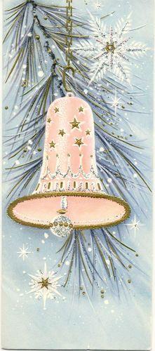 Vintage Pink Christmas Bell Card.