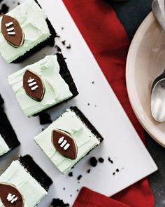 Grasshopper Mini Cakes football cakes, bowl, chocolate recipes, grasshopp cake, football parties, football season, chocolate cakes, cake recipes, dessert