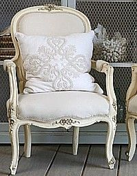 French Country Chic Chair...So Lovely! pillow, antique chairs, chair redo, dining chairs, french countri, countri chic, french country chic, bedroom, french chic