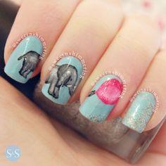 Isn't this elephant nail art adorable??