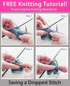 Free Knitting Tutorial from Creative Knitting newsletter: Saving a Dropped Stitch by Tabetha Hedrick. Click on the photo to access the tutorial. Sign up for this free newsletter here: www.AnniesNewsletters.com.