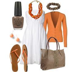 White dress with orange accessories