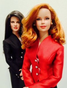 #pinned #dollchat ^kv submitted by justrefined: Lauren Fenmore and Sheila Carter repaints of Brenda Starr and Mrs. Coulter by JustCreations