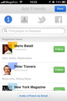Stamped - puts a lot of emphasis on suggested users. nice that you can see bio and pic clearly.