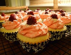 White chocolate cupcakes with raspberry cream filling :)