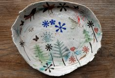 a plate a day, small oval, art, elizabeth howe, ceramics