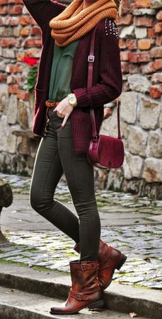 Burgundy Stud Cardigan With Leather Boots and Scarf.