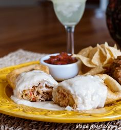 Chicken Chimichangas - A Family Feast.. Can't wait to try this!!!! This was my favorite dish @ the edge water cafe & now I finally have the recipe!!!