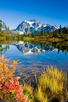 Mt. Shuksan and Picture Lake by Michael Russell ~ North Cascades National Park, Washington*