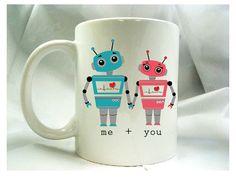 'Me + you' Robots Ceramic Coffee Mugs by theprintedsurface