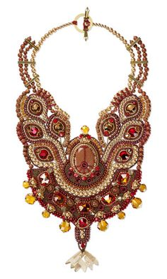 Bib-Style Necklace with Seed Beads, SWAROVSKI ELEMENTS and Gemstone Beads and Cabochonand Beads