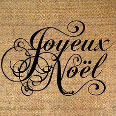 Burlap Digital Download Transfer Christmas French Text Joyeux Noel Xmas Iron On