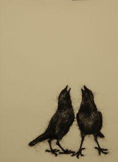 Stephanie Metz Portfolio, Wool Birds on Paper
