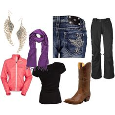 miss me jeans, northface, boots, and windpants...ready for a cattle show!
