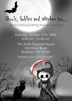 Printable Halloween Birthday party Invitation by SugarPieStudio, $10.00