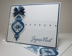 handmade Christmas card ... clean and simple design ... blue orrnament ... embossing folder lace band with pearl accents ... French ... matching envelope ... Stampin' Up!
