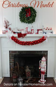 Christmas Mantel | Red and White Themed on HoosierHomemade.com #PFDecorates