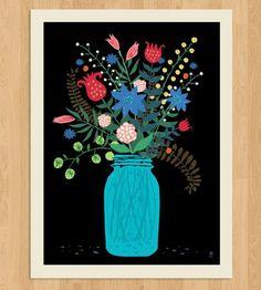 Mason Jar Art Print by Methane Studios