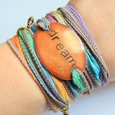 DREAM... Boho Silk Wrap Bracelet- Silk Ribbon Bracelet- Yoga wrap- Indie- Hippie