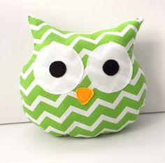 Owl Decor - Pillow - Owl Nursery - Green - Chevron - Baby Shower Gift - Toddler Gift - Owl - Room Decor - White