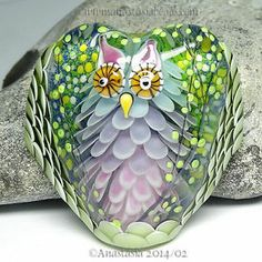 "Anastasia Lampwork Bead 1 Focal ""Hyacinthe The Nightowl"" SRA 