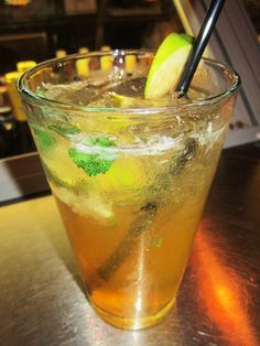Our NEW Angry Mojito! A refreshing drink with a twist. Angry Orchards Hard Cider with Bacardi, muddled lime, and mint. We then shake it...served to enjoy!