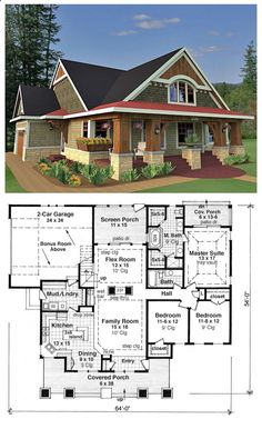House Plan 42618 is a craftsman style design with 3 bedrooms, 2 bathrooms and a bonus area of 288 sq. ft. Total living area is 1866 sq. ft. The master suite has an attractive vaulted tray ceiling, and the master bathroom has two stand-up showers, two vanities and a spa tub. We love the large fireplace separating the flex room and the family room- both of which are conveniently served by the wet bar.
