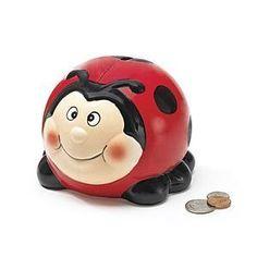 A ladybug piggy bank.  Your favourite piggy banks: http://www.helpmetosave.com/2012/02/piggy-bank/