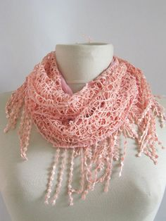CottonGuipure  Mixed Fabric Fringed  Scarf authentic by asuhan, $22.90