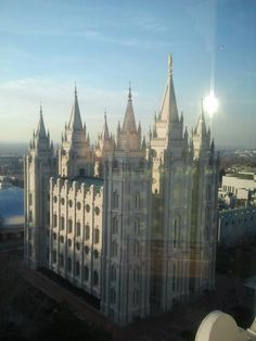 Gorgeous Salt Lake City temple. Taken from the top window at a nearby building
