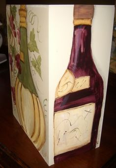 Tuscan Wood 3 Liter Box Wine Cover-Hand Painted Wine Bottles/Grapes   AuntiEvelyn - Woodworking on ArtFire