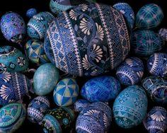 blue pysanky