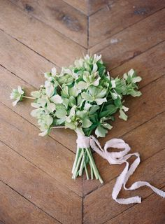 Get inspired: Simple and fresh hellebores #wedding bouquet.
